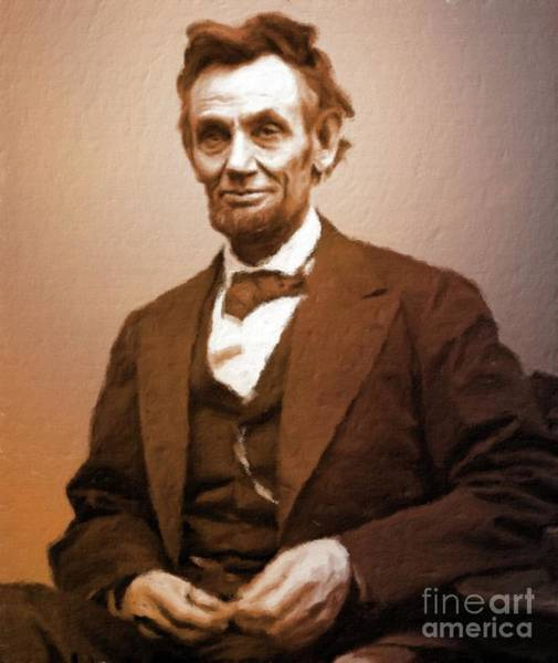 Poetry Painting - Abraham Lincoln, President Of The Usa By Mary Bassett by Mary Bassett