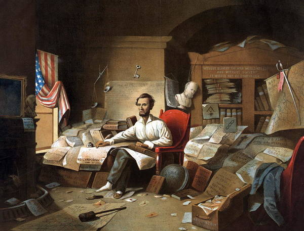 Messy Painting - Abraham Lincoln, Proclamation Of Freedom, 1863 by American School