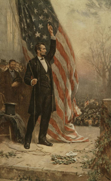 Honest Painting - Abraham Lincoln Raising Flag And Speaking To Crowd From Platform by Jean Leon Gerome Ferris