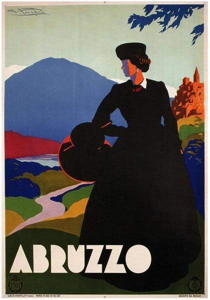Hat Mixed Media - Abruzzo, Italy - Girl In Black Gown - Retro Travel Poster - Vintage Poster by Studio Grafiikka
