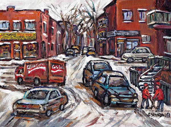 Painting - Ville Emard En Peinture Scenes De Ville De Montreal En Hiver Petit Format A Vendre by Carole Spandau