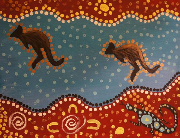 Fluid Acrylic Painting - Abstract Aboriginal Landscape - Gangurru Jump by Adam Asar