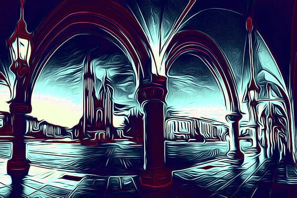 Town Square Mixed Media - Abstract Arches Of The City by Valdecy RL