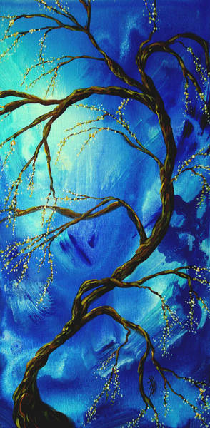 Wall Art - Painting - Abstract Art Asian Blossoms Original Landscape Painting Blue Veil By Madart by Megan Duncanson