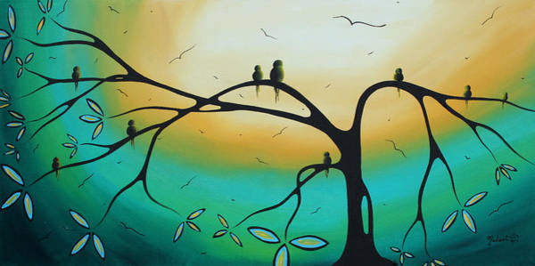 Wall Art - Painting - Abstract Art Landscape Bird Painting Family Perch By Madart by Megan Duncanson