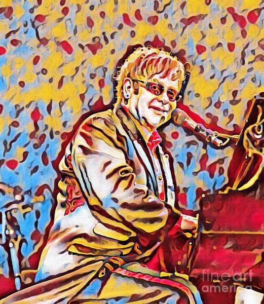Groovy Mixed Media - Abstract Art Of Elton John by Pd
