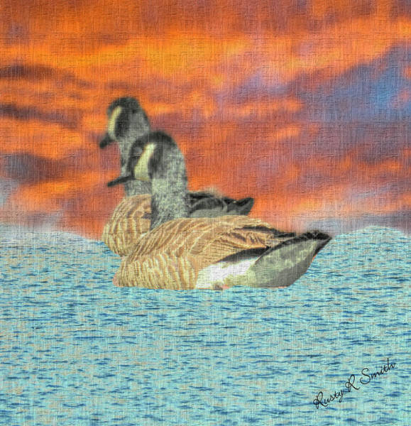 Digital Art - Abstract Art Two Canada Geese by Rusty R Smith