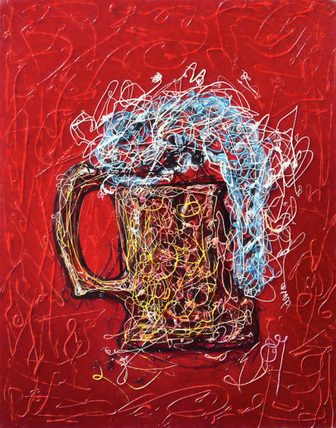 Digital Art - Abstract Beer  - Inspired By Pollock By Lena Owens @olena Art #fineartamerica by OLena Art Brand