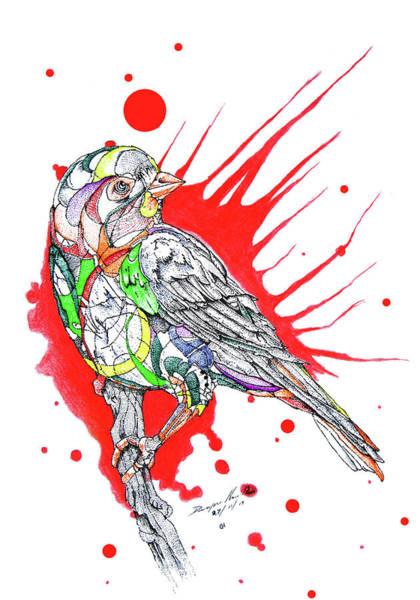 Nectar Mixed Media - Abstract Bird 002 by Dwayne  Hamilton