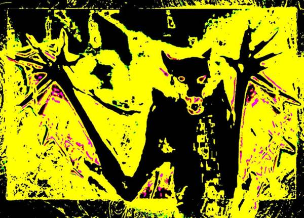 Painting - Black On Yellow Dog-man by Hartmut Jager