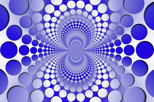 Curve Digital Art - Abstract Blue And White Pattern by Vladimir Sergeev