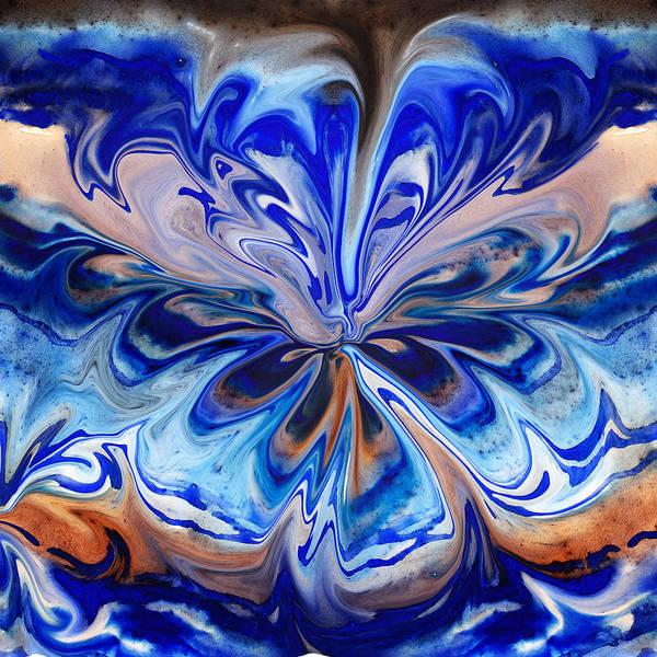 Painting - Abstract Blue Flower By Irina Sztukowski by Irina Sztukowski