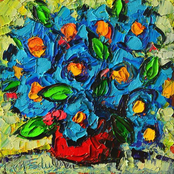 Painting - Abstract Blue Poppies In Red Vase Modern Original Palette Knife Oil Painting By Ana Maria Edulescu by Ana Maria Edulescu