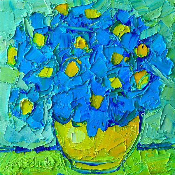 Painting - Abstract Blue Poppies In Yellow Vase - Original Palette Knife Oil Painting by Ana Maria Edulescu