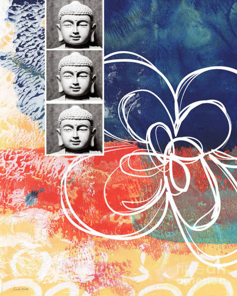 Colorful Mixed Media - Abstract Buddha by Linda Woods
