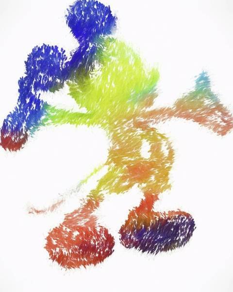 Wall Art - Painting - Abstract Colorful Mickey Mouse by Dan Sproul
