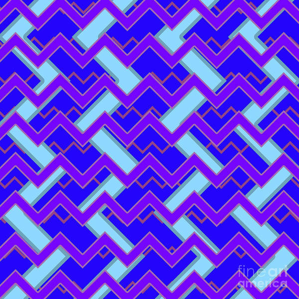 Wall Art - Digital Art - Abstract Cyan, Purple And Blue Pattern For Home Decoration by Drawspots Illustrations