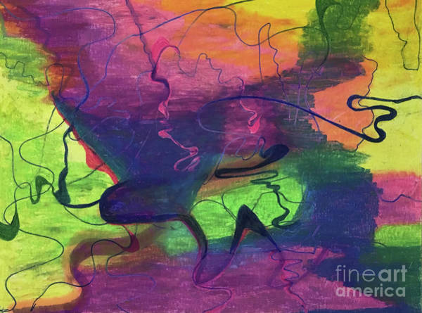 Painting - Colorful Abstract Cloud Swirling Lines by Annette M Stevenson