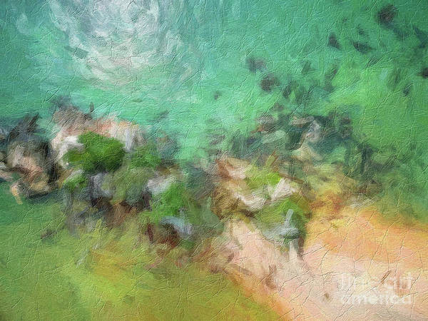 Color Burst Digital Art - Abstract Digital Oil Painting Full Of Texture And Bright Colors Green Beige by Amy Cicconi