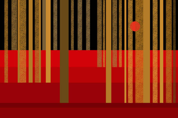 Digital Art - Abstract Dreamscape - Red And Gold by Val Arie