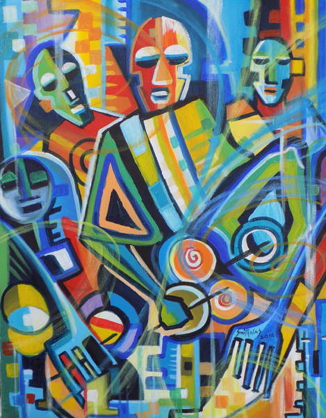 Lagos Painting -  Abstract Drummers by Olaoluwa Smith