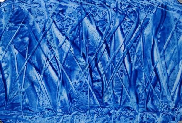 Abstract Encaustic Blues Art Print