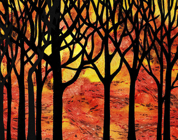 Into The Woods Wall Art - Painting - Abstract Fall Forest by Irina Sztukowski