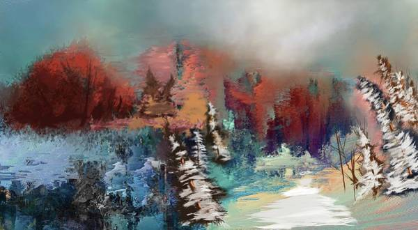 Digital Art - Abstract Fall Landscape Painting by Eduardo Tavares