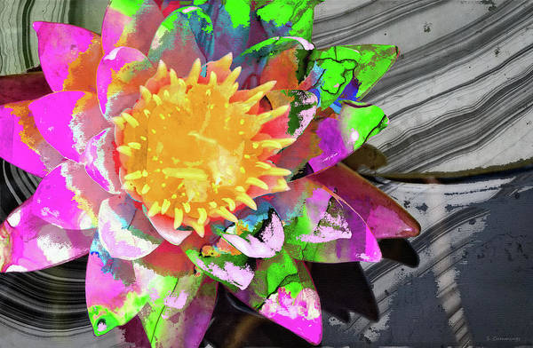 Wall Art - Painting - Abstract Floral Art - Wild Lotus Flower - Sharon Cummings by Sharon Cummings