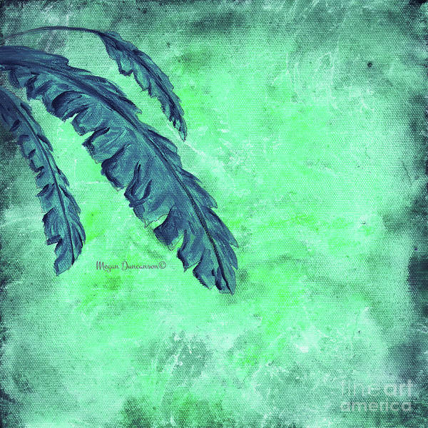 Wall Art - Painting - Abstract Floral Fauna Banana Leaf Tropical Aqua Splash Abstract Art By Megan Duncanson  by Megan Duncanson