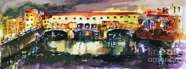 Painting - Abstract Florence Ponte Vecchio Italy Panorama by Ginette Callaway