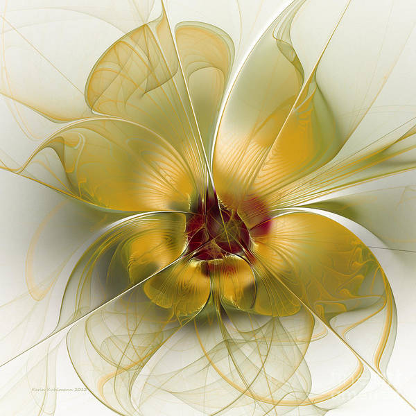 Translucent Digital Art - Abstract Flower With Silky Elegance by Karin Kuhlmann