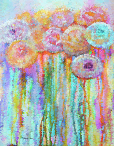 Digital Art - Colorful Flowers Abstract   by OLena Art - Lena Owens
