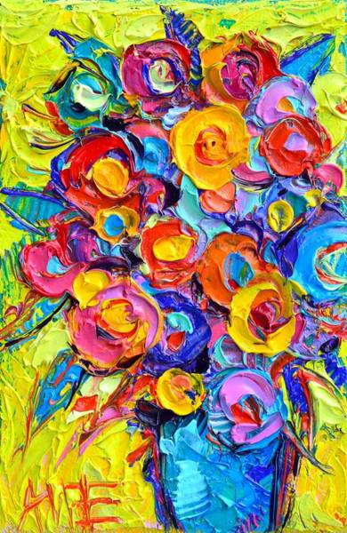 Painting - Abstract Flowers Of Happiness Modern Textural Impressionist Impasto Knife Oil By Ana Maria Edulescu by Ana Maria Edulescu