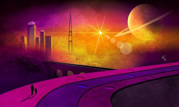 Humanity Digital Art - Future Cityscape by John Wills