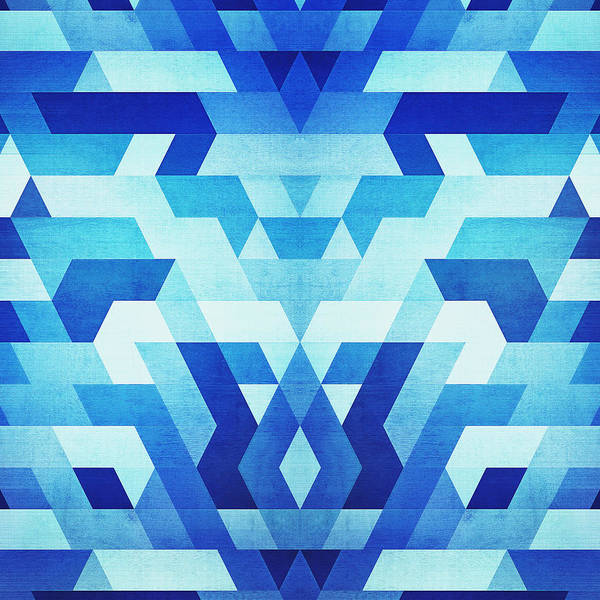 Wall Art - Digital Art - Abstract Geometric Triangle Pattern Futuristic Future Symmetry In Ice Blue by Philipp Rietz