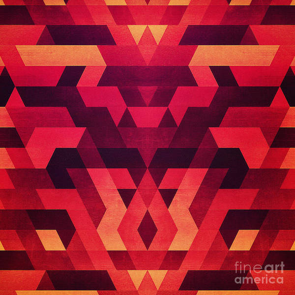 Wall Art - Digital Art - Abstract  Geometric Triangle Texture Pattern Design In Diabolic Future Red by Philipp Rietz