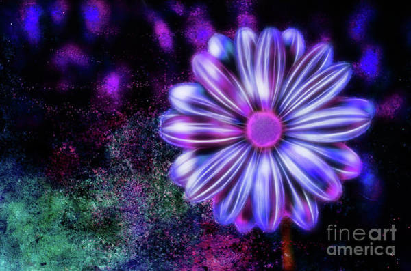 Digital Art - Abstract Glowing Purple And Blue Flower by Tracey Everington