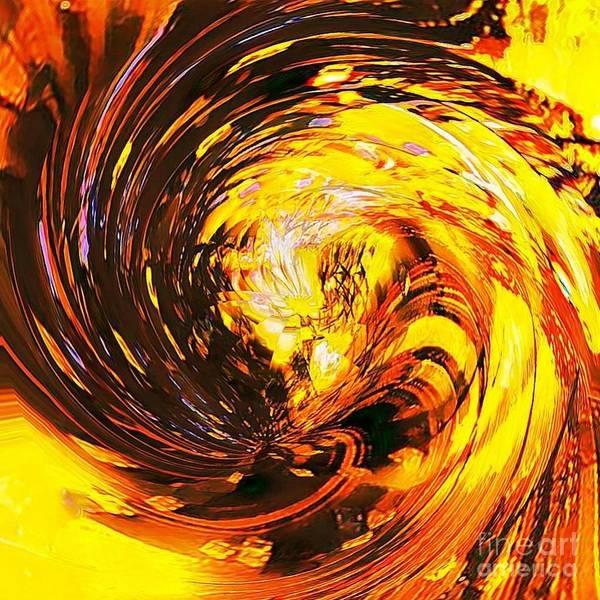 Digital Art - Abstract Gold Swirl by Swedish Attitude Design