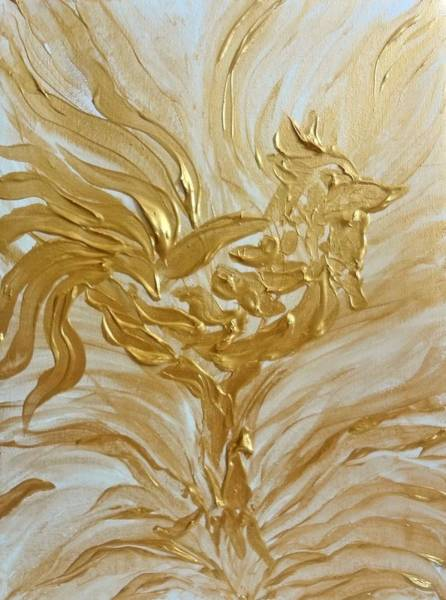 Painting - Abstract Golden Rooster by Michelle Pier