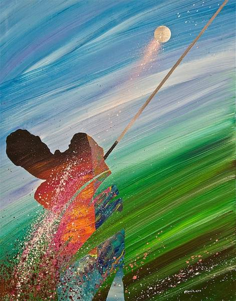 Douglas County Wall Art - Painting - Abstract Golf by Douglas Fincham