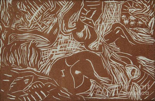Linoleum Mixed Media - Abstract Greece Inspired Brown Linoleum Print Cropped by Marina McLain