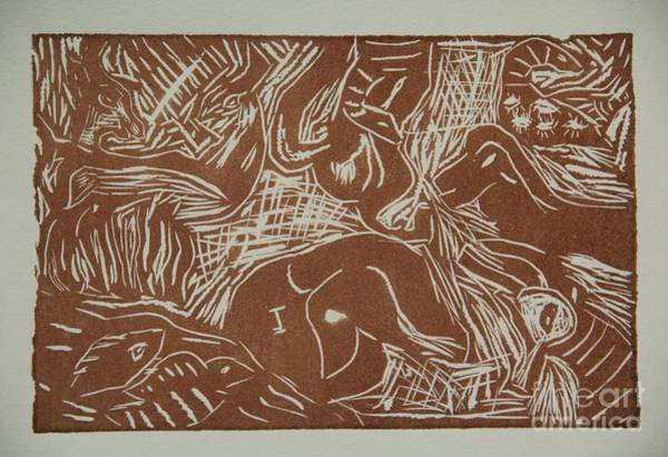 Linoleum Mixed Media - Abstract Greece Inspired Brown Linoleum Print by Marina McLain