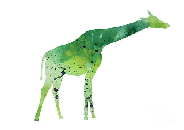 Giraffe Painting - Abstract Green Giraffe Minimalist Painting by Joanna Szmerdt