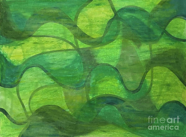 Abstract Green Wave Connection Art Print