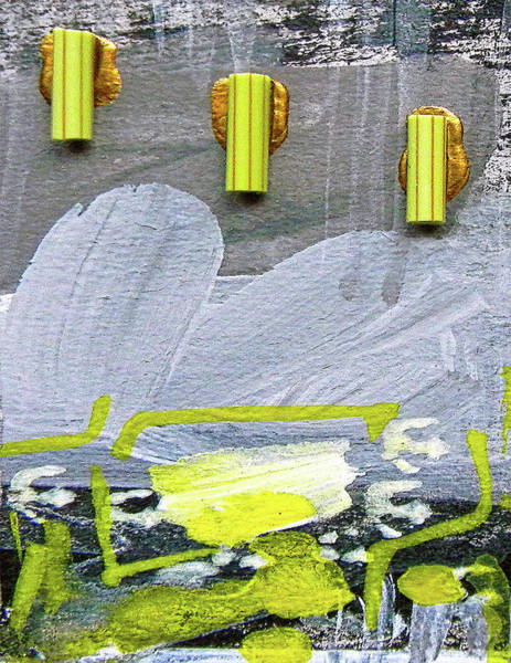 Cool Mixed Media - Abstract Grey And Yellow Left by Marian Voicu