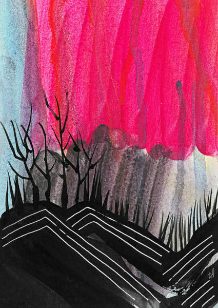Neon Pink Painting - Abstract Hills 1 by Tonya Doughty