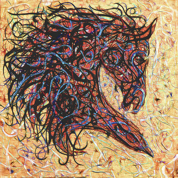 Digital Art - Abstract Horse Digital Ink Pollock Style  by OLena Art Brand