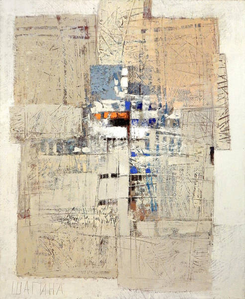 Painting - Abstract In Beige And Blue by Olga Shagina