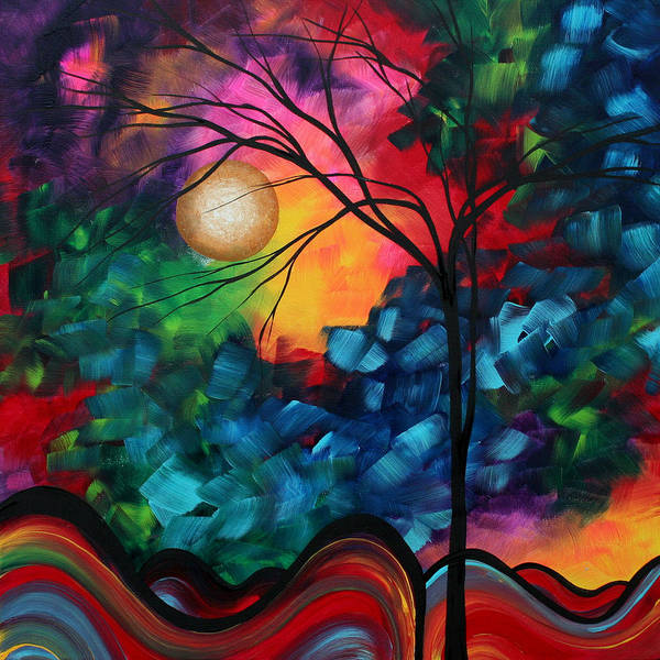 Red Moon Painting - Abstract Landscape Bold Colorful Painting by Megan Duncanson